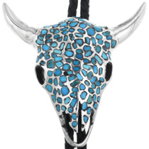 Old Pawn Turquoise Buffalo Skull Bolo Tie 32641