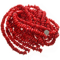 Red Coral Beads Rounded Discs 31949