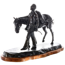 Bronze Sculpture of Native American Hunter and Horse 32078