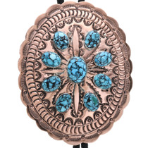 Spiderweb Turquoise Copper Concho Bolo Tie 32665