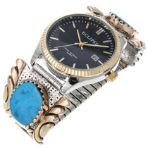 Vintage 14K Gold Silver Turquoise Watch 32669