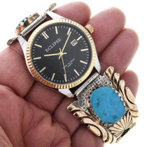 Kingman Turquoise Gold Navajo Watch 32669