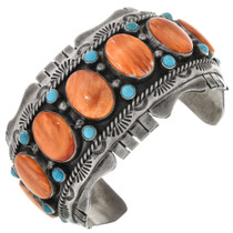 Vintage Spiny Oyster Turquoise Cuff Bracelet 32674