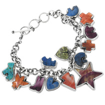 Vintage Turquoise Lapis Charm Bracelet 32675