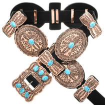 Navajo Turquoise Copper Concho Belt 32678