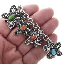 Turquoise Multi Stone Silver Charm Bracelet 32679