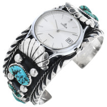 Old Pawn Turquoise Silver Watch 32810