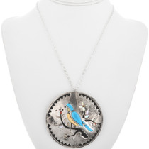 Domed Sterling Silver Turquoise Zuni Pendant 32811