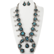 Old Pawn Turquoise Squash Blossom Necklace 32812