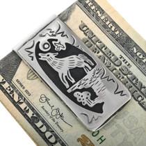 Hand Cut Wolf Overlay Money Clip 32820