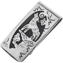 Howling Wolf Navajo Silver Money Clip 32820