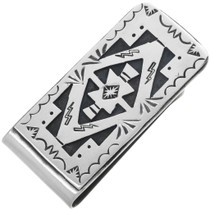 Navajo Rug Pattern Silver Money Clip 32821