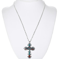 Navajo Sterling Silver Turquoise Cross Pendant 32834