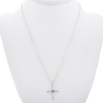 Sterling Silver Turquoise Cross Pendant 32862