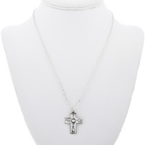 Silver Cross Hammered Navajo Symbols 32869