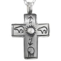 Navajo Silver Cross Pendant 32869