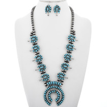 Turquoise Silver Squash Blossom Necklace Set 32884