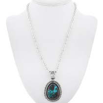 Navajo Bisbee Turquoise Silver Pendant 32886