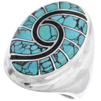 Vintage Zuni Turquoise Silver Mens Ring 32887