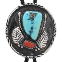 Old Pawn Turquoise Coral Bolo Tie 32891