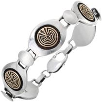 Vintage 14K Gold Overlaid Silver Tennis Bracelet 32906
