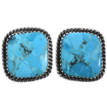 Blue Turquoise Navajo Post Earrings 32911