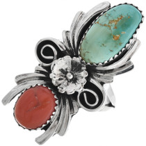 Navajo Turquoise Coral Silver Ladies Ring 32914