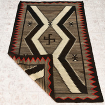 Whirling Log Design Hand Woven Navajo Rug 32932