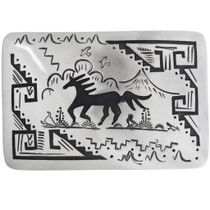 Navajo Silver Horse Belt Buckle 32945