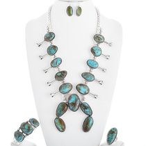 Turquoise Silver Squash Blossom Necklace Set 32952