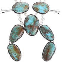 Navajo Turquoise Squash Blossom Necklace 32952