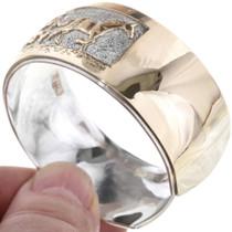 Navajo Overlay Silver Gold Bracelet 32958