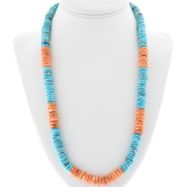 Navajo Turquoise Heishi Bead Necklace 32959