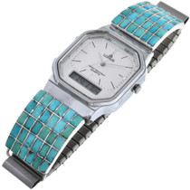 Vintage Turquoise Silver Mens Watch 32962