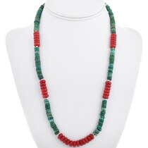 Green Turquoise Coral Navajo Necklace 32965