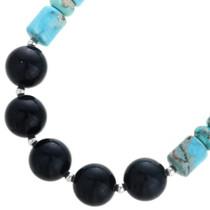 Turquoise Jasper Onyx Beaded Necklace 32969