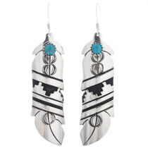 Navajo Silver Turquoise Feather Earrings 32976