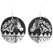 Navajo Sterling Silver Horse Dangle Earrings 32980