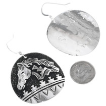 Silver Overlay Horse Design Navajo Earrings Signed 32980
