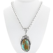 Sterling Silver Navajo Made Turquoise Pendant 33001
