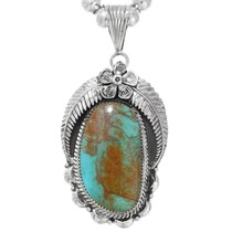 Number 8 Turquoise Silver Navajo Pendant 33001