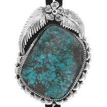 Genuine Turquoise Silver Bolo Tie 33015