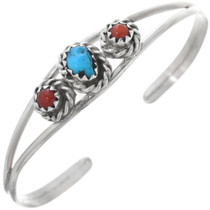 Navajo Turquoise Coral Baby Bracelet 33024