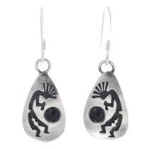 Kokopelli Onyx Silver Dangle Earrings 33025