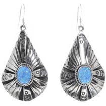 Opal Silver Teardrop Dangle Earrings 33029