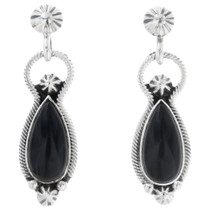 Black Onyx Silver Navajo Earrings 33033