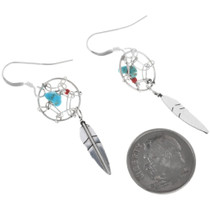 Navajo Sterling Silver Dreamcatcher Earrings 33035