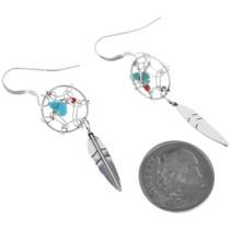 Navajo Sterling Silver Dreamcatcher Earrings 33035