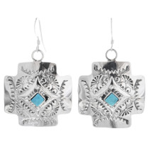 Navajo Silver Turquoise Cross Earrings 33037
