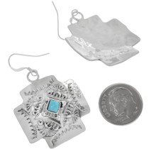 Navajo Hammered Sterling Silver Turquoise Earrings 33037